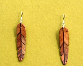 Handcarved Ambrosia Maple and Purpleheart Wood Leaf / Feather Earrings  J151205