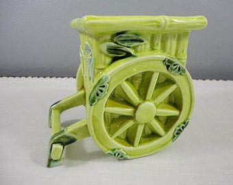 Vintage Inarco Green Bamboo Small Carriage/Wagon Planter - Japan