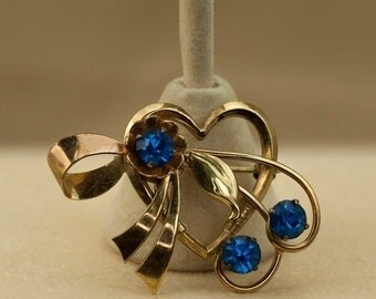 Harry Iskin Heart Brooch Blue Rhinestones 1/20 12 KT Gold Filled Vintage