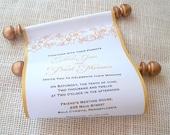 Gold Wedding Invitation, classic wedding invitation, flower blossom invitation, fabric scroll invitation in black and gold {25}