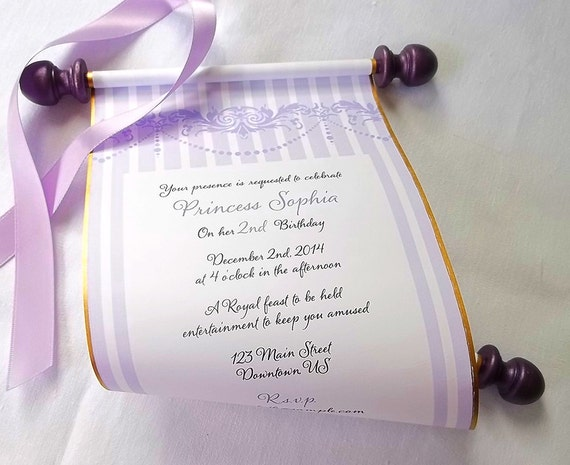princess invitation paper scroll invitations by artfulbeginnings