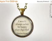 ON SALE Charlotte Bronte Happy : Glass Dome Necklace gift present by HomeStudio. Round art photo pendant jewelry. Available as Key Ring Keyc