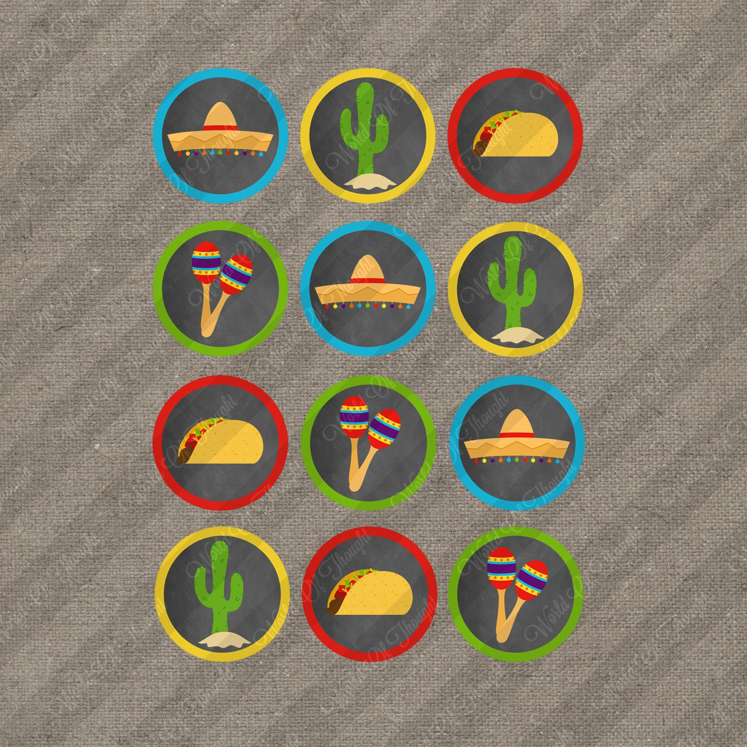 Mexican Fiesta Party Cookout Taco Bar Cupcake Toppers