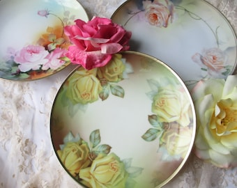Vintage Rose Plate Collection of Three - Prussia Nippon Thomas