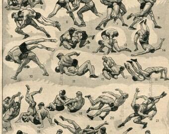 Original Vintage French Chart 1949 Wrestling Lutte  Larousse  Illustre Paul Ordner