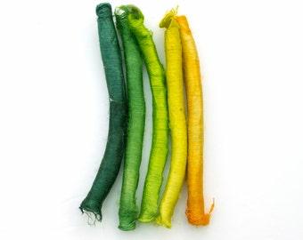 Hand dyed silk carrier rods - acid yellow, lemon, lime, bright green, emerald, dark green, set of 5, fibre art supply, mixed media supply