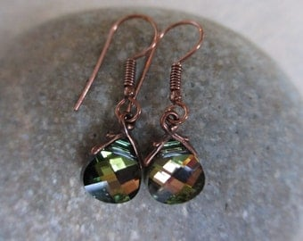 Sage Green Crystal Earrings, Pink, Swarovski Crystals, Tabac, Antiqued Copper, Irisjewelrydesign, Fashion