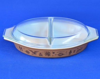 Vintage Pyrex Early American Pattern Divided Serving/Casserole Dish with Pyrex Clear Glass Lid