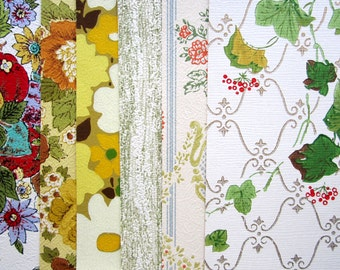 8 x 10 VINTAGE WALLPAPER 6 Sheets Gold, Green, Florals 1950s 1960s