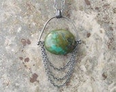 boho turquoise necklace, long boho stone pendant, sterling and turquoise necklace, rustic turquoise necklace