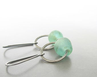 silver and glass earrings, green dangle earrings, rustic silver earrings, ocean earrings