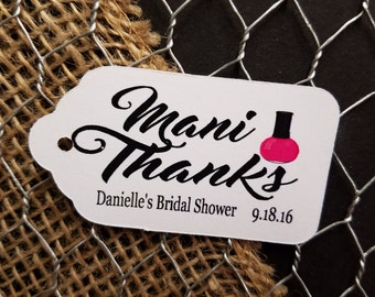 Mani Thanks favor tag MEDIUM Tags Personalize with name and date Choose your Quantity MEDIUM