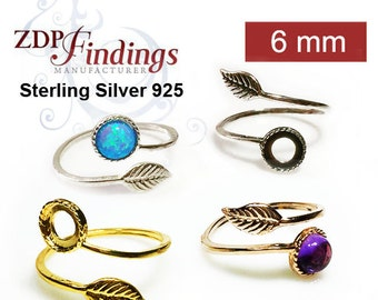 2pcs x Sterling Silver 925 ,Leaf Ring with 6mm Bezel Settings, Adjustable Ring. Choose your Finish (9731SV)