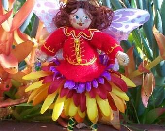 Spring Butterfly Flower Girl Felt Art Doll
