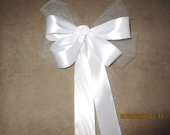 Pew Bows, Blinged Out or Not,  Swarovski Crystals, 4 Loop Bow, 20 Inch Tails,