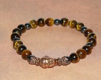 "Buddha Tiger Eye ""Wisdom"", Hematite ""Focus"" and Copper Bracelet"