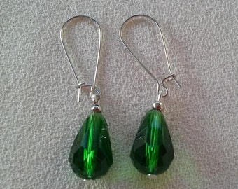 SALE Long Emerald Green Crystal Quartz Teardrop  Earrings