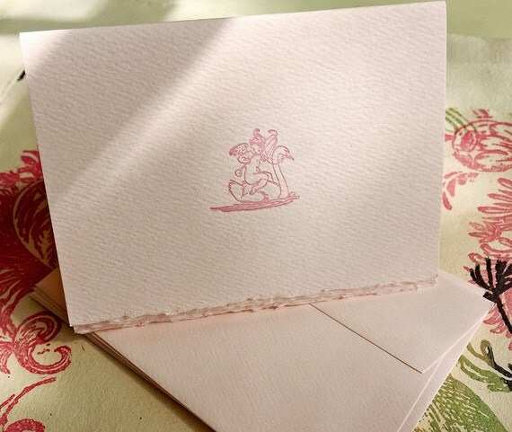 6 Pink Cherub and Swan Letterpress Cards with Envelopes