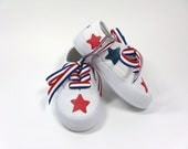 Fourth of July Shoes, American Flag Sneakers, Red, White and Blue Stars, 4th of July Shoes, Hand Painted for Baby and Toddler