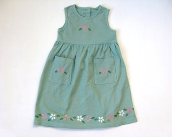 Girl's  Green Dress with Hand Painted Flowers, Two Pocket Long Jumper Hand Dyed Sage Green, Toddler