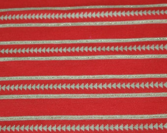 """SALE vintage 70s red and khaki green knit fabric with gold lurex stripes, 62"""" x 22"""""""