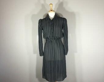 Vintage B D H dress, Pinstriped Dress, 70s dress, sheer dress, cap sleeve dress