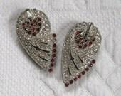 art deo shoe clip . red art deco shoe clip . dress clip . pot metal shoe clips
