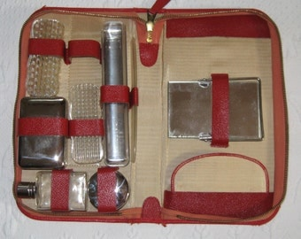 travel kit . retro travel kit . retro shaving kit . red travel kit . 9 piece travel kit . grooming kit