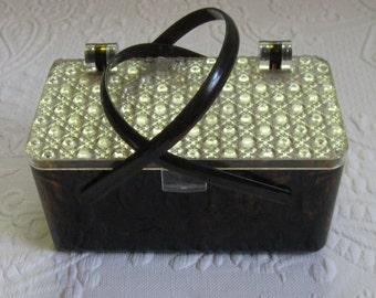 lucite box purse . lucite box bag . box purse . 50s lucite box purse . tortoise shell lucite purse