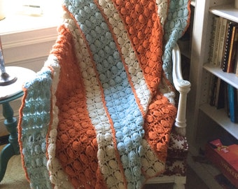 retro Throw . orange, blue and Cream Crochet Afghan . Hand Crochet Throw . crochet afghan