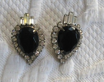 Mourning Earrings . Art Deco Earrings . Black Glass and Rhinestone Earrings . Pierced Ears . black glass earrings