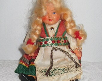 German Folk Doll . folk art doll . Little German Folk Doll . Celluloid Folk doll