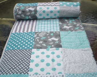 Baby quilt,grey,teal,aqua,Patchwork crib quilt,baby boy or girl bedding,woodland,rustic,chevron,deer,bear,patchwork,toddlermodern,Silhouette