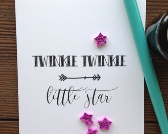 Quilled  stars greeting card // TWINKLE TWINKLE little star // quilled pink, hot pink, fucshia stars // made in Canada