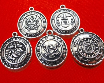 5 Assorted Military Charms U.S. Coast Guard, Army, Navy, Marines, Air Force  Charms 22x20mm