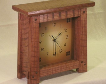 Arts & Crafts, Mission Style Clock - Curly Oak