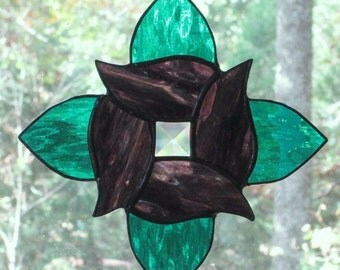 Stained Glass Suncatcher - Swirl Flower in Teal Green and Purple