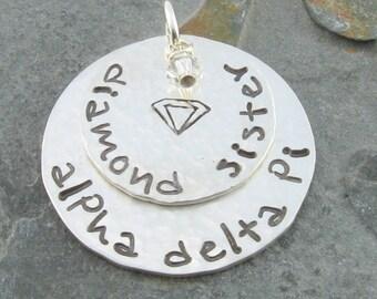 Alpha Delta Pi Necklace, ΑΔΠ Diamond Sister Sterling Silver Charm with Swarovski Crystal,ΑΔΠ Bid Day,Initiation/OLP