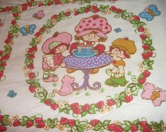 Vintage Strawberry Shortcake Twin Size Flat Bedsheet Vintage Children's Bed Sheet Bedding