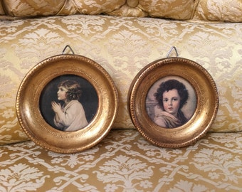 """Italian Florentine Set of Two Framed Prints Frames Pictures Cameo Children Tiny 3"""""""