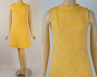 Vintage 1960s MOD Dress Bright Yellow and White A Line by Gay Gibson B36 W30