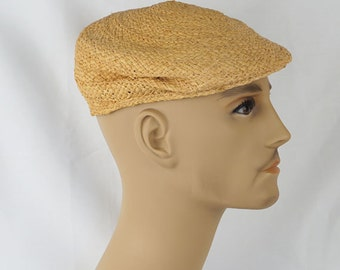 Vintage 1960s Hat Straw Flat Cap Flip-It Made in Italy Sz 21