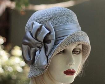 Dressy 1920s Cloche Flapper Hat in Grey Tweed Fabric