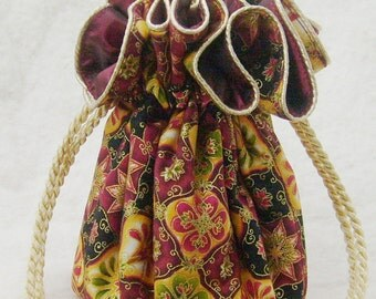 Cranberry and Gold Jewelry Pouch, Travel Organizer