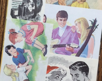Teen Age Boy and Girl Vintage High School Collage, Scrapbook and Planner Kit Number 2262