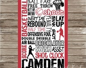 Basketball Digital Print Typography Personalized