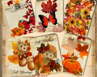 INSTANT DOWNLOAD - Fall Blessings - Collage Sheet - Printable Download - Gift Tags - Scrapbook