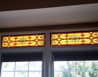 Stained Glass Transom - Victorian ribbons & flowers (W-75)