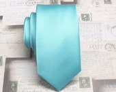 Mens Tie. Pool Blue Robin Blue Eggs Blue Tonal Striped Skinny Tie With Matching Pocket Square Option