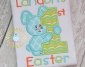 1st Easter Shirts - Easter Bunny - Personalized appliquéd Applique  Monogrammed Shirts - Baby Easter Toddler  12 mo 18 mo 2t 3t 4t 5t  6 8
